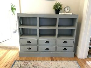 Bookcase Apothecary Cottage Charming With Drawers Shelves Cubbies solid wood