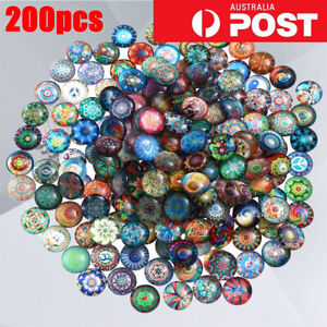 1/200 Mixed Round Mosaic Tiles Crafts Glass Supplies for Jewelry Making 10/14mm