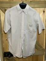 Lacoste Men's Yellow Check Short Sleeve Shirt Size 44 XL 100% Cotton