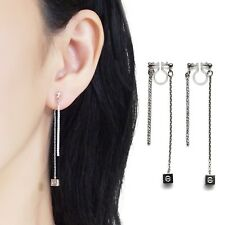 Dangle Double Sided Front Back Rhinestone Silver Cube Invisible Clip On Earrings