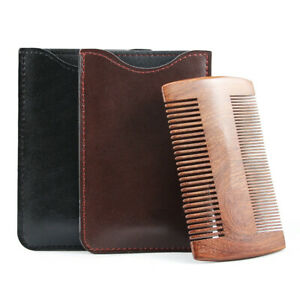 Portable Natural Sandalwood Wooden Beard Comb Anti-static Hair Brush with Shell