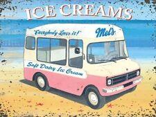 CAMIONNETTE de vendeur de glaces homme Mel's DOUX Dairy Crème Glacée bord de mer