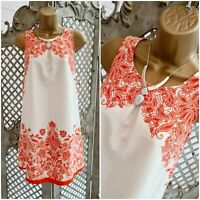PROMOD 💋 PRETTY ORANGE FLORAL FLOURISH A LINE TUNIC  DRESS 10 DESIGNER SUMMER