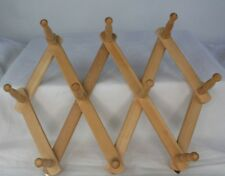 Vtg Wooden Towel Hat Coat Jewelry Rack Accordion Collapsible Folding Wood 10 Peg
