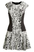 TED BAKER LONDON Graice Snake Print Contrast Shift Dress NWT Black TB 4 US 10