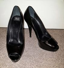 Dolce Gabbana D&G Black Leather Heels Womens Used Pre-Owned Ladies Size 5 38