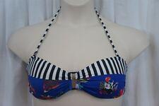 Volcom Bikini Top Sz XL Blue White Multi Color Swimwear Swim Top 01221370