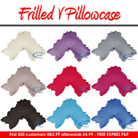 V SHAPED PILLOW CASE COVER FRILLED - NURSING PREGNANCY MATERNITY ORTHO SUPPORT