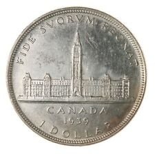 Raw 1939 Canada $1 Uncertified Double HP Canadian Mint Silver Dollar Coin