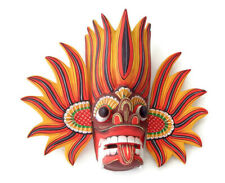 Sri Lankan Hand Carved Wood Wall Home Decor Fire Mask Sculpture Collectible 10""