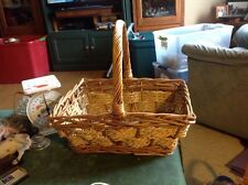 Wicker Rattan Rectangular Sturdy Basket W/ Handle Decor Display Storage Flowers