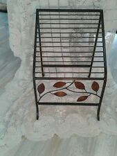 Mid Century Modern Black Iron and Copper Magazine Rack Home Decor NICE