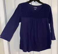 New Womens Coral Bay Navy Blue Eyelet 3/4 Sleeve Top Shirt Size Small S Blouse
