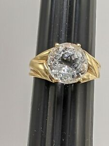 14K Solid Yellow Gold Goshenite 10mm Round Solitaire Ring Size 5 (3.84g)