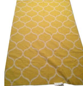 IKEA Stockholm 2017 AREA RUG Yellow Wool Handwoven Flatwoven Net Lattice MCM