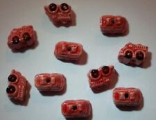 10 Peruvian Ceramic Mini UNIQUE Fire Truck Earring Beads 14 mm by 9 mm