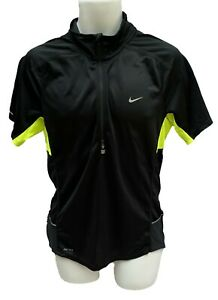 New NIKE Mens RUNNING Fit Dry Short Sleeved Reflective Top Black Zest M