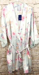 APT 9 Satin Wrap Tie Kimono Robe womens 2X new lace floral bathrobe H1