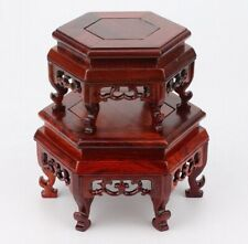 Hexagonal Natural Rosewood Legged Fishbowl Stand Bonsai Ceramic Vase Rack Base