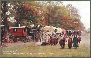 Gypsy Hop Picking Encampment, Maidstone, Kent c1904. Superb Social History Card.