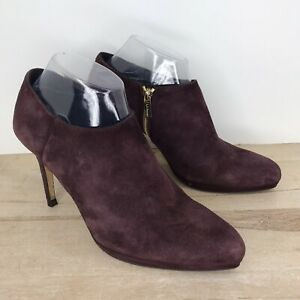 LK Bennett Sz 8.5, EU 39.5 Purple Suede Ankle Booties Boots Side Zip