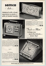 1957 PAPER AD Semca Barometer Thermometer Clock Touch-O-Matic Calendar