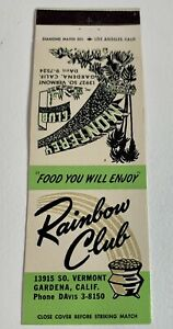 1960s Rainbow Club / Monterey Club in Gardena California Matchbook Cover 1960s