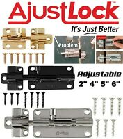 STRONG SECURITY DOOR BOLT + SCREWS HEAVY DUTY SOLID ADJUSTABLE SAFETY LOCK CATCH