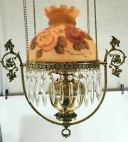 Victorian Antique Brass Hanging Oil Parlor Lamp w/Hand Painted Floral Glass