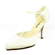 Satin plain high heel wedding shoes with thin ankle strap - CLEARANCE
