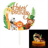 Creative Cartoon Animal Lion Jungle Cake Toppers Birthday Baby Party Decor