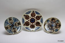 A779DD 1970s 3 Wall Plates  Massemühle Wagner  handpainted West German Pottery