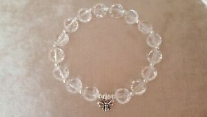 Lovely Faux Crystal Bead Stretch Bracelet, 3D Bee Charm, New/Gift!