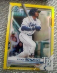 Xavier Edwards 2021 Bowman Yellow Refractor #/75