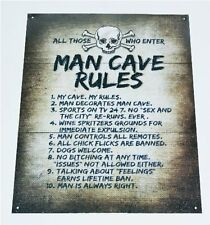 NEW Man Cave Rules Top 10 Gameroom Bar Pub Novelty Tin Sign Gift Decorate Home