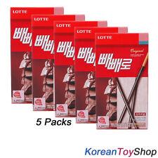 Korean Original Lotte Pepero 42g X 5 Pack Chocolate Stick Snack Biscuit M. Korea