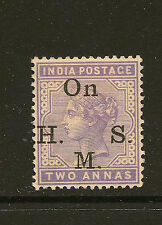 INDIA : 1900 2 annas pale violet opt On H.M.S. SGO31  mint