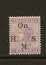 INDIA : 1900 2 annas pale violet opt On H.M.S. SGO31  mint