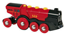 BRIO Mighty Red Locomotive Train Engine Battery OP Lights fwd/reverse 33592 NEW