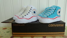 2 PAIRS GIRL CONVERSE HIGH TOPS CHUCK TAYLOR ALL STARS BABY BOOTIES CRIB SHOES