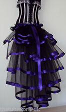 NEW Black Burlesque Bustle Belt Skirt Sexy SteamPunk Goth Purple trim Halloween