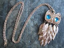 US Seller!Gold Owl Pendant Long Necklace loose leaves Retro NEW Blue Rhinestone!