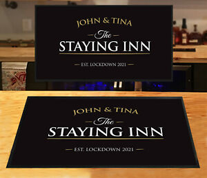 Personalised Bar Staying Inn Gold & Black Bar runner Beer mats Pubs & Clubs