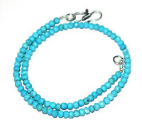 "Sky Blue Turquoise 12-40"" Strand Necklace 925 Sterling Silver Round 4mm Beads L6"