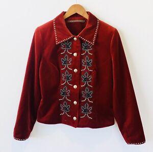 Double D Ranchwear Red Jacket Velvet Studs Concho Buttons Blazer Size Medium