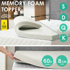 Bamboo Cover Memory Foam Mattress Topper Underlay All Size 8CM Pad Mat
