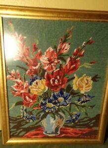 Embroidery Framed Original Art Flowers Roses Artist Signed  24 x 19 1/2