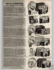 1957 PAPER AD Camera Ansco Bolsey Dejur Realist Nikon Kodak Graphic Minox S-2