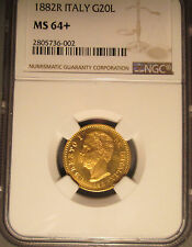1882 R Italy Gold 20 Lire (G20L), NGC MS 64+