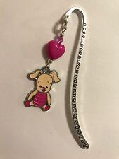 PIGLET DISNEY BOOKMARK TIBETAN SILVER with enamel charm present In gift Bag